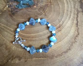 Labradorite Pearl Bracelet