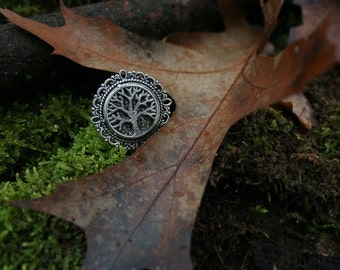 Tree of life / pyrite ring