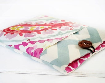 """15"""" MacBook Case, MacBook Sleeve, Laptop Case, Computer Cases and Sleeves- in Raspberry and Chevron with pocket on front"""