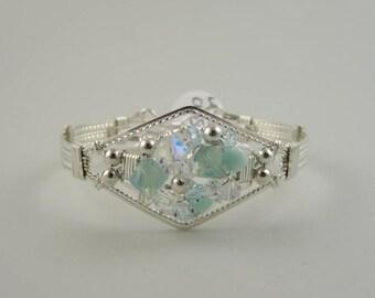 WSB-0135 Handmade Swarovski Crystal Bangle Bracelet Wire Wrapped with .925 Sterling Silver Wire
