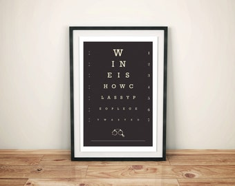 Wine Lover - Eye Chart Poster - Bar Art - Kitchen Art - Foodie Gift - Typography - She Shed - Funny Quote - Home Bar Art - Restaurant Art