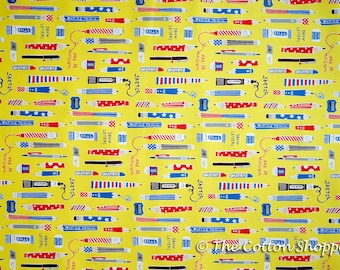 Kokka School Time Pencils ~ Japanese Fabric ~ Kids Fabric~Boys Fabric ~Yellow Fabric ~ Printed Cotton Oxford ~ Quilt Fabric ~ Apparel Fabric