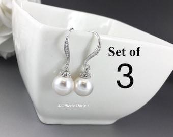 Set of 3 Bridesmaid Earrings Dangle Earrings Swarovski Pearl Earrings Bridal Earrings Bridesmaid Earrings Bridal Jewelry Maid of Honor Gift