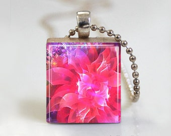 Pink Flower Blossom Mystical - Scrabble Tile Pendant - Free Ball Chain Necklace or Key Ring