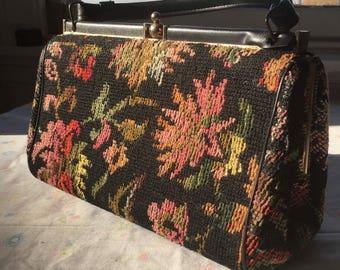 Hand Stitched Floral Handbag // 1950's-60's Vintage Carpet Bag