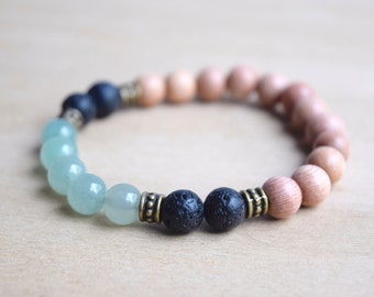 Pastel Jewelry Gift / yoga gift for mom, jewelry gift bff, mint boho bracelet, lava stones, boho green bracelet, green aventurine, group 16