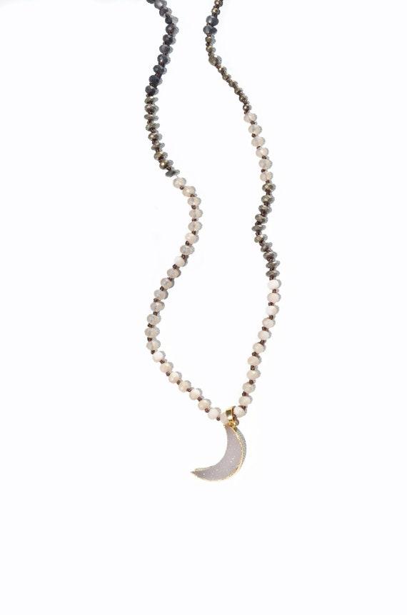 Natural toned skinny layering beaded half-moon druzy necklace