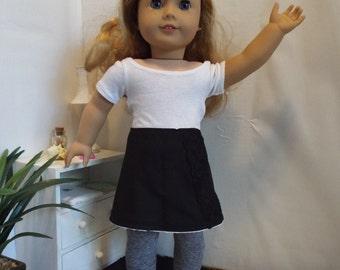Reversible Skirt and Grey Leggings--Fits 18 Doll LIKE American GIrl