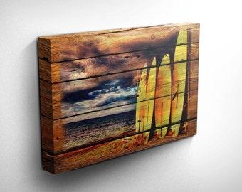 Surf Art/Surf Decor Wood Style Canvas Art - Surfboard Wall Art, Surfer Girl, Surfer Gift