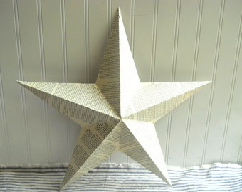 """Decoupaged metal tin star French text collaged 18"""" star French Cottage Chic Shabby Farmhouse Romantic"""