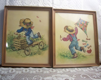 Two Little Boy Flying a Kite and Riding a Wood Scooter Pictures
