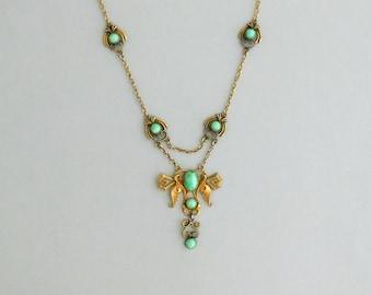 Jugendstil Festoon Necklace. Peking Glass. Late Nouveau Early Art Deco.