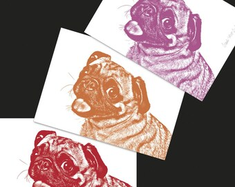 "Tri-Color Custom Pet Portrait - Three 5x7"" Prints, Pug Art Print, Custom Dog Art"