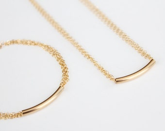 Bar Necklace - 14k Gold Filled or Sterling Silver - Multi Chain Necklace