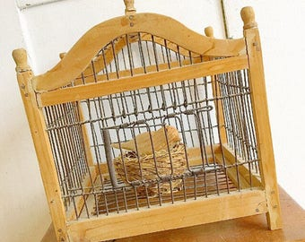 Super Tweet... Vintage Birdcage Bird Cage Wood Metal Primitive Framhouse French Country Home Decor Nature Inspired Birds