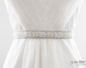 LOLA - Beaded Bridal Sash, Wedding Belt