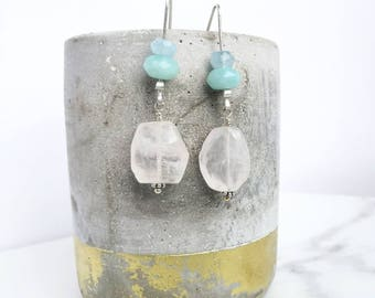 Pastel earrings - Rose Quartz, Amazonite & Aquamarine on handmade Sterling Silver earwires
