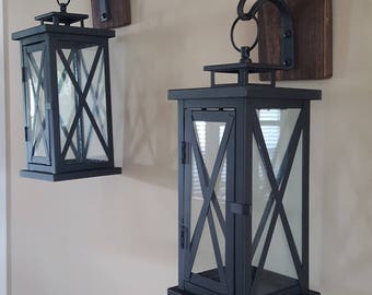 Set of 2 MEDIUM Rustic Wall Mounted Lantern Sconces - 5x5 Sconce