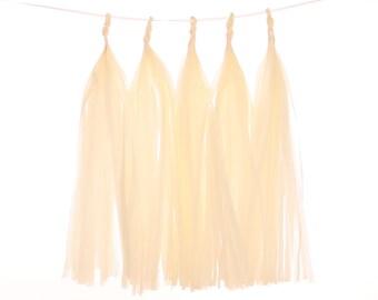 Tissue Paper Tassel, Cream Tassel Garland, Rustic Wedding Photo Backdrop, Engagement Party Photo Prop, Bridal Shower, Shabby Chic Tea Party