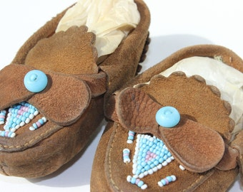 Vintage Baby Moccasin Suede Beaded Turquoise