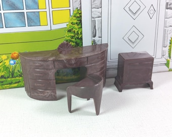 """PLASCO VANITY and STOOL, End Table, 1950's, Hard Plastic, 3/4"""" Scale,  Vintage Dollhouse Furniture"""