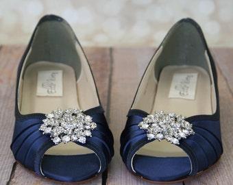 Blue Wedding Shoes, Navy Blue Shoes, Custom Wedding Shoes, Wedding Wedges, Wedge Wedding Shoes, Bling Wedding Shoes, Simple Wedding Shoes
