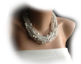 Czech Glass Pearl Necklace, Brides Jewelries, Multi Strands Ivory Pearl Necklace