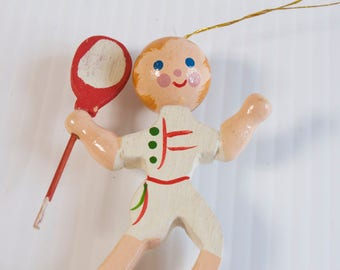 Vintage  Tennis Player Wooden Christmas Ornament