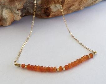 Orange carnelian necklace, Carnelian necklace, Goldfilled necklace, Carnelian gemstone, Orange gemstone, Orange carnelian, Orange necklace,