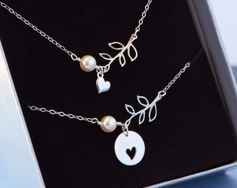Mother Daughter Necklace, Jewelry, Heart Leaf Necklace Set, Sterling Silver, Sisterhood, Friendship