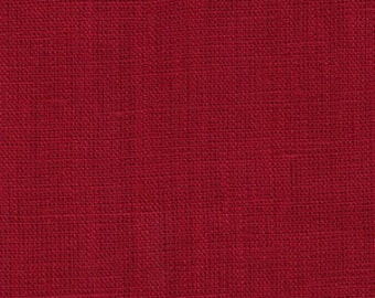 """REMNANT 40 percent off, 68"""" long, 52"""" wide, Laminated cotton/linen aka oilcloth heavyweight crimson red Christmas fabric polished finish"""