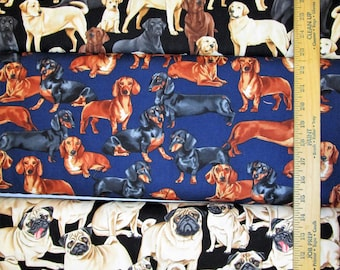 Labrador, English or French Bulldog, Beagle, Golden Retriever, Chihuahua, Pug, & Dachshund Dog Cotton Fabric! [Choose Your Cut Size]