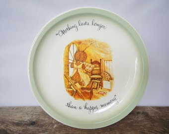 """Vintage 1972 Holly Hobbie Collector's Edition Plate - """"Nothing lasts longer than a happy memory"""" - collectible, home decor, decorative,retro"""