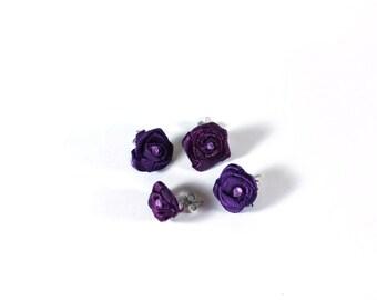 Dark Purple Rose Post Earrings from Purple Ribbon with rhinestone centers - repurposed earrings