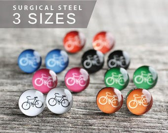 Bicycle earring studs, Surgical steel studs, Tiny post earrings, Sport stud earrings, gift for him, blue black white orange red green pink