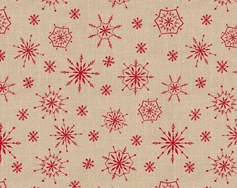 20 % off thru 5/31 PLAID FOR the HOLIDAYS by the yard Wilmington Prints cotton fabric red snowflakes on tan beige 82518-223