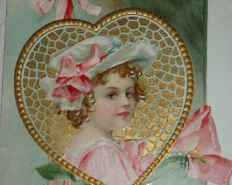 U/S Ellen Clapsaddle Girl in a Heart With Love and Devotion Antique Valentine Postcard