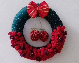 Christmas Wreath Ornament Mini Roses Felt Flowers