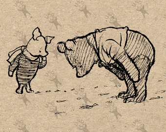 Winnie the Pooh and Piglet Instant Download Digital printable vintage clipart  graphic for transfers, home decor, prints etc HQ 300dpi