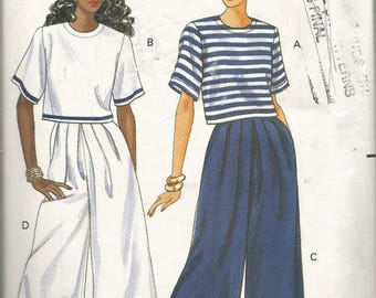 BUTTERICK FAST and EASY ladies pattern.  Sizes 12, 14, 16.Misses' /Misses' Petite Top and split skirt (gaucho).Vintage 1991 uncut pattern