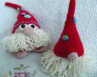 Amigurumi gnome Toy, Knit gnome doll, two knitted gnomes, Hand knit gnome, Knitted gnome toy,Stuffed gnome, Scandinavian tomten tonttu nisse