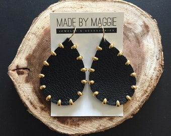 BLACK Leather Earrings - Genuine Leather - Joanna Gaines Inspired - Gold Studded Black Leather Teardrops