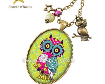Necklace * super OWL * pink bronze green cabochon glass costume jewelry