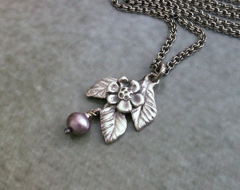 Charm necklace, silver flower and leaf, small silver leaf and flower necklace, silver charm necklace, fine silver charm, necklace