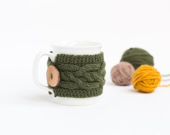 Cup Cozy in Khaki, Knitted Mug Cozy, Coffee Cozy, Tea Cup Cozy, Handmade Wooden Button, Coffee Cozy Sleeve, Warmer, Fall, Autumn, Gift