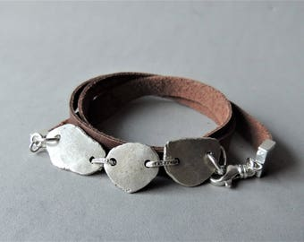 Leather Wrap Bracelet, Silver Leather Bracelet, Handmade Silver Links, Rustic Jewelry, Urban Chic, Layering Jewelry, Jewelry For Him