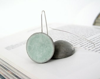 Grey, green mint dangle earrings, air dry clay, eco friendly, modern minimal, dome earrings, natural, sterling silver earrings