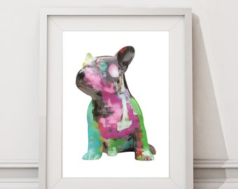 French Bulldog Digital Download Poster / Dog Wall Art / Frenchie / A4 A3 A2
