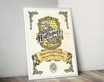 Harry Potter Hogwatrs HufflePuff House Parchment Quality Prints Wall Decor Geek Nerd Fantasy Poster Dead or Alive