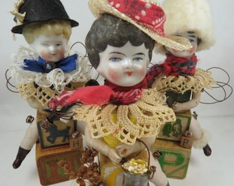 "Art Doll, ""Ginny"", Assemblage Doll with Antique Doll Parts and Vintage Blocks,"